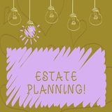 Text sign showing Estate Planning. Conceptual photo Insurance Investment Retirement Plan Mortgage Properties. Text sign showing Estate Planning. Business photo vector illustration