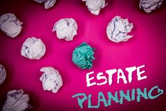 Text sign showing Estate Planning. Conceptual photo Insurance Investment Retirement Plan Mortgage Properties Ideas white blue lett. Ers pink background crumpled royalty free stock photo