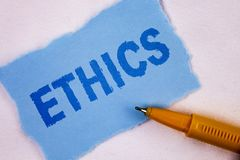 Text sign showing Ethics. Conceptual photo Maintaining equality balance among others having moral principles written on Tear Blue. Text sign showing Ethics Stock Photos