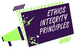 Text sign showing Ethics Integrity Principles. Conceptual photo quality of being honest and having strong moral Megaphone loudspea. Ker green striped frame Royalty Free Stock Images