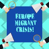 Text sign showing Europe Migrant Crisis. Conceptual photo European refugee crisis from a period beginning 2015 Hu royalty free illustration