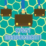 Text sign showing Event Management. Conceptual photo Special Occasion Schedule Organization Arrange Activities. Text sign showing Event Management. Business stock illustration