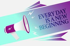 Text sign showing Every Day Is A New Beginning. Conceptual photo you have a chance to dream work live better Megaphone loudspeaker. Speech bubble important stock illustration
