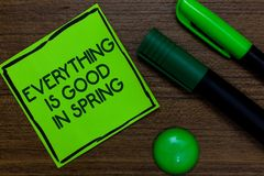 Text sign showing Everything Is Good In Spring. Conceptual photo Happiness for the season Enjoy nature Written on sticky note two stock photo