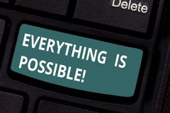 Text sign showing Everything Is Possible. Conceptual photo we cannot predict with any certainty what will happen. Keyboard key Intention to create computer royalty free stock photography