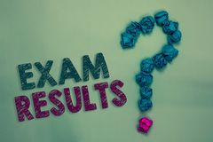 Text sign showing Exam Results. Conceptual photo An outcome of a formal test that shows knowledge or ability Crumpled papers formi. Ng question mark several stock photo