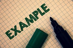 Text sign showing Example. Conceptual photo Illustration Sample Model to follow Guide Explanation For instance Squared paper open. Marker ideas messages royalty free stock images