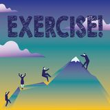 Text sign showing Exercise. Conceptual photo Activity requiring physical effort Bringing into play Training Business. Text sign showing Exercise. Business photo stock illustration