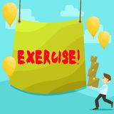 Text sign showing Exercise. Conceptual photo Activity requiring physical effort Bringing into play Training Man Carrying. Text sign showing Exercise. Business royalty free illustration