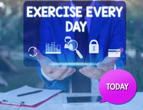 Text sign showing Exercise Every Day. Conceptual photo move body energetically in order to get fit and healthy man icons