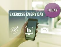 Text sign showing Exercise Every Day. Conceptual photo move body energetically in order to get fit and healthy woman