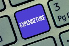 Text sign showing Expenditure. Conceptual photo Action of spending funds amount of money spent Investment royalty free stock images