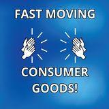 Text sign showing Fast Moving Consumer Goods. Conceptual photo High volume of purchases Consumerism retail Drawing of Hu analysis. Hands Clapping Applauding royalty free illustration