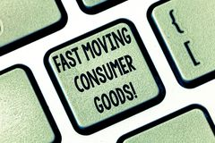 Text sign showing Fast Moving Consumer Goods. Conceptual photo High volume of purchases Consumerism retail Keyboard key. Intention to create computer message royalty free stock photo