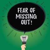 Text sign showing Fear Of Missing Out. Conceptual photo Afraid of losing something or someone stressed Blank Oval Color. Speech Bubble Above a Broken Bulb with vector illustration