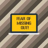 Text sign showing Fear Of Missing Out. Conceptual photo Afraid of losing something or someone stressed Laptop Monitor. Personal Computer Device Tablet Blank stock illustration