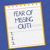 Text sign showing Fear Of Missing Out. Conceptual photo Afraid of losing something or someone stressed Lined Spiral Top. Color Notepad photo on Watermark vector illustration