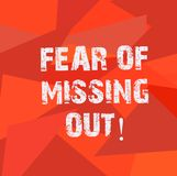 Text sign showing Fear Of Missing Out. Conceptual photo Afraid of losing something or someone stressed Uneven Shape. Multi Tone Mosaic Blank Copy Space for royalty free illustration