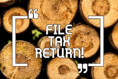 Text sign showing File Tax Return. Conceptual photo Paperwork to get financial money returning accountant job Wooden. Background vintage wood wild message ideas vector illustration