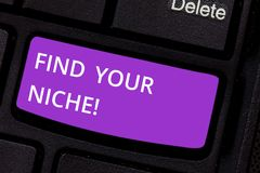 Text sign showing Find Your Niche. Conceptual photo Market study seeking specific potential clients Marketing Keyboard. Key Intention to create computer message stock images