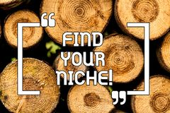 Text sign showing Find Your Niche. Conceptual photo Market study seeking specific potential clients Marketing Wooden. Background vintage wood wild message ideas royalty free stock photo