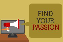 Text sign showing Find Your Passion. Conceptual photo Seek Dreams Find best job or activity do what you love Social media network. Convey lines messages ideas Stock Photos