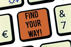 Text sign showing Find Your Way. Conceptual photo Look for demonstratingal direction purpose path to accomplish goals. Keyboard key Intention to create computer royalty free stock photography