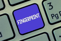 Text sign showing Fingerprint. Conceptual photo Impression or mark made on a surface by a demonstrating fingertip royalty free stock images