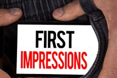 Text sign showing First Impressions. Conceptual photo Encounter presentation performance job interview courtship written on Mobile. Text sign showing First Royalty Free Stock Image