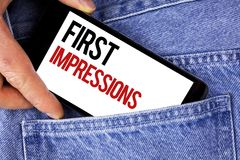 Text sign showing First Impressions. Conceptual photo Encounter presentation performance job interview courtship written on Mobile. Text sign showing First Stock Images