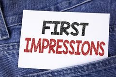 Text sign showing First Impressions. Conceptual photo Encounter presentation performance job interview courtship written on Sticky. Text sign showing First Royalty Free Stock Photo