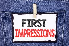 Text sign showing First Impressions. Conceptual photo Encounter presentation performance job interview courtship written on White. Text sign showing First Royalty Free Stock Photography