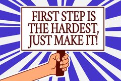 Text sign showing First Step Is The Hardest, Just Make It. Conceptual photo dont give up on final route Man hand holding poster im. Portant protest message blue Royalty Free Stock Images