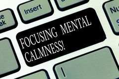 Text sign showing Focusing Mental Calmness. Conceptual photo free the mind from agitation or any disturbance Keyboard. Key Intention to create computer message royalty free stock photo