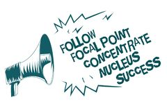 Text sign showing Follow Focal Point Concentrate Nucleus Success. Conceptual photo Concentration look for target Gray megaphone lo. Udspeaker important message royalty free illustration