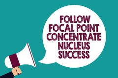 Text sign showing Follow Focal Point Concentrate Nucleus Success. Conceptual photo Concentration look for target Man holding megap. Hone loudspeaker speech royalty free illustration