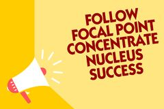 Text sign showing Follow Focal Point Concentrate Nucleus Success. Conceptual photo Concentration look for target Megaphone loudspe. Aker yellow background vector illustration