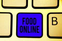 Text sign showing Food Online. Conceptual photo asking for something to eat using phone app or website Keyboard blue key Intention. Create computer computing stock image