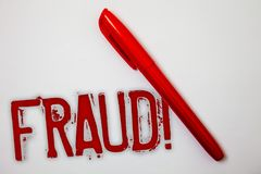 Text sign showing Fraud Motivational Call. Conceptual photo Criminal deception to get financial or personal gain Ideas messages sp. Latters marker markers messy royalty free stock image
