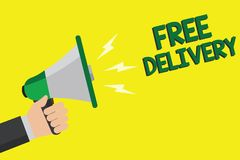 Text sign showing Free Delivery. Conceptual photo Shipping Package Cargo Courier Distribution Center Fragile Man holding megaphone royalty free illustration