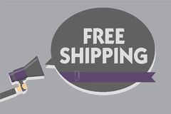 Text sign showing Free Shipping. Conceptual photo Freight Cargo Consignment Lading Payload Dispatch Cartage Man holding megaphone. Loudspeaker speech bubble stock illustration