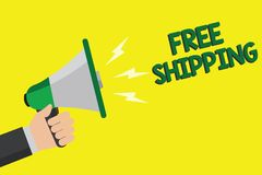 Text sign showing Free Shipping. Conceptual photo Freight Cargo Consignment Lading Payload Dispatch Cartage Man holding megaphone. Loudspeaker yellow background royalty free illustration