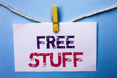 Text sign showing Free Stuff. Conceptual photo Complementary Free of Cost Chargeless Gratis Costless Unpaid written on White Note stock images
