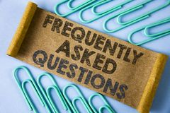 Text sign showing Frequently Asked Questions. Conceptual photo most common inquiries Informations Help Guide written on Folded Car. Text sign showing Frequently Royalty Free Stock Photo