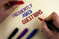 Text sign showing Frequently Asked Questions. Conceptual photo most common inquiries Informations Help Guide written by Man on pla. Text sign showing Frequently Royalty Free Stock Images
