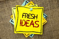 Text sign showing Fresh Ideas. Conceptual photo Creative Vision Thinking Imagination Concept Strategy  written on Sticky Note Pape Stock Photo