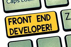 Text sign showing Front End Developer. Conceptual photo computer programmer codes and creates visual elements Keyboard royalty free stock photo