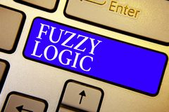 Text sign showing Fuzzy Logic. Conceptual photo checks for extent of dirt and grease amount of soap and water Keyboard blue key In. Tention create computer royalty free stock image