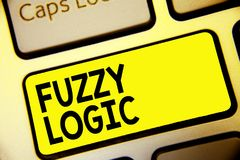Text sign showing Fuzzy Logic. Conceptual photo checks for extent of dirt and grease amount of soap and water Keyboard yellow key. Intention create computer royalty free stock photography
