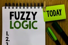 Text sign showing Fuzzy Logic. Conceptual photo checks for extent of dirt and grease amount of soap and water Notebook clothespin. Holding reminder markers royalty free stock photography